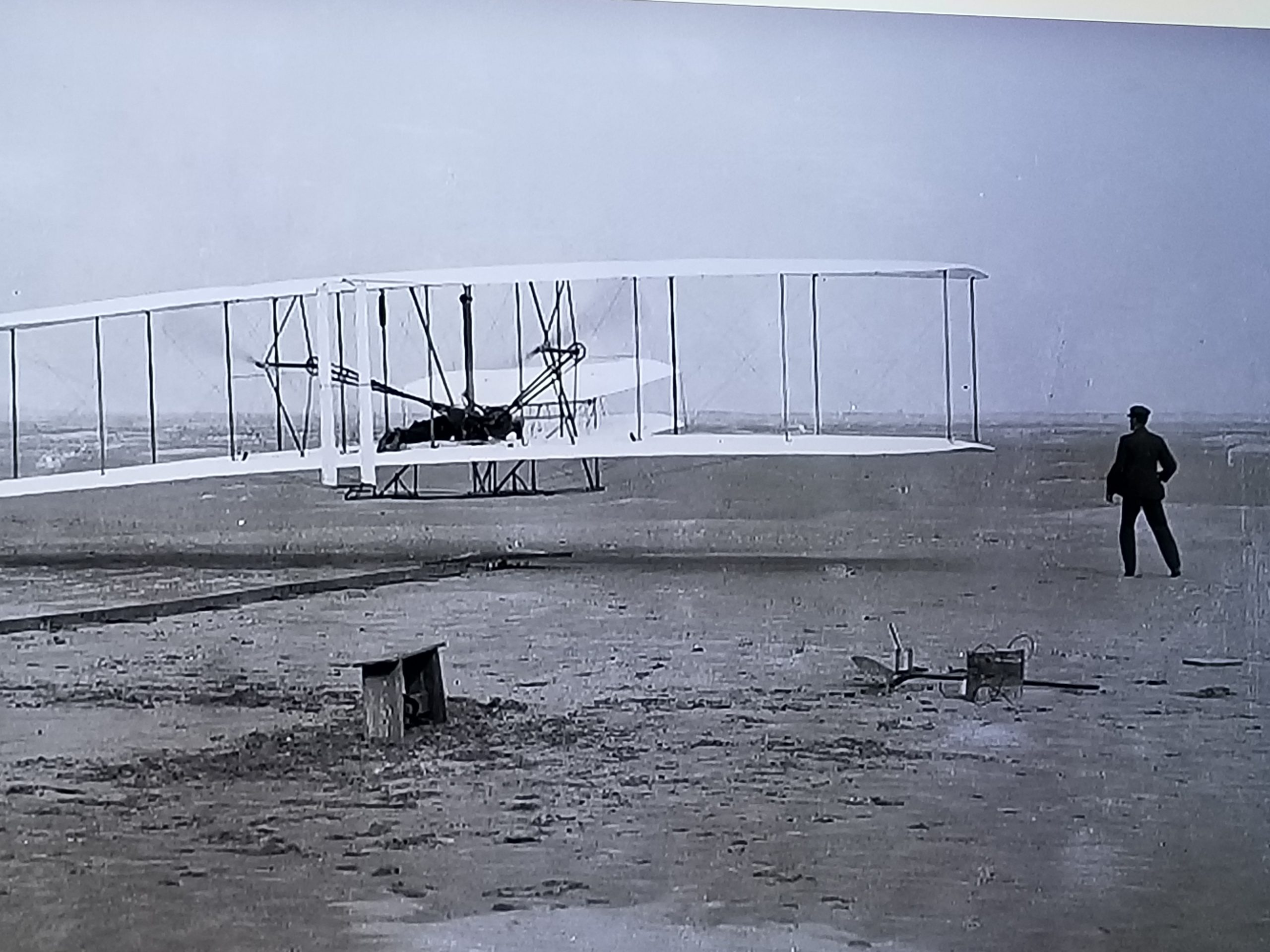 shows a picture of Wright Brothers first flight as shown on America's Summer Road Trip